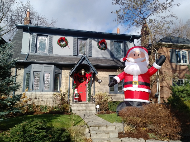 Fun and whimsical Christmas decorations and lighting in Mount pleasant area of Toronto