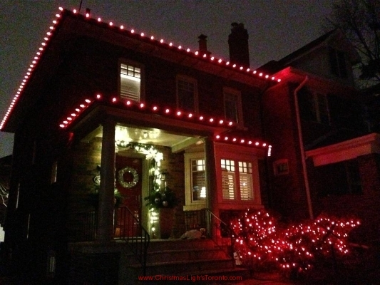 Red C9 Christmas Lights with Mini red polka dot LED lights LawnSavers Premium Door Garland with Silver bows and warm white mini LED lights in Toronto