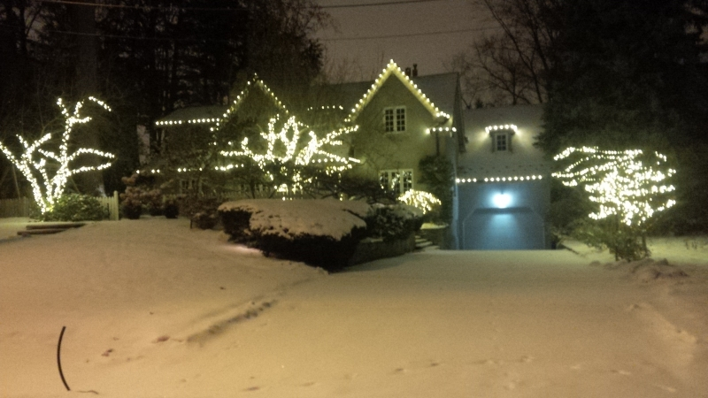 Toronto professionally decorated Christmas lights after fresh snowfall