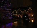 50 ft Christmas tree with multi colour lights and Warm white C9 bulbs on house