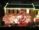 Hogg's Hollow Toronto Christmas Decorations white-c9s-on-roofline-multi-lit-trees