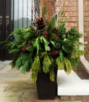 Decorated Christmas Urn with Greenery and Birch Branches