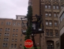 st-joes-hospital-toronto-christmas-decoration-pole-wrapping-garland-and-lift-by-lawnsavers