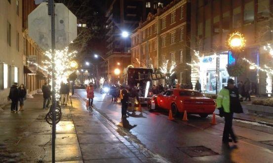 Christmas lights on movie set Toronto